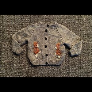 Hand made grey cardigan sweater with duck pattern size 6-12m